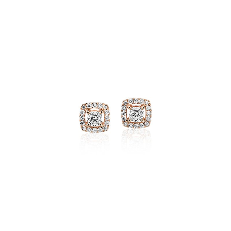 Cushion-Cut Diamond Halo Stud Earrings in 14k Rose Gold (1/3 ct.