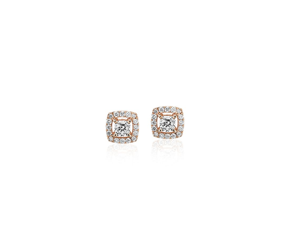 Cushion-Cut Diamond Halo Stud Earrings in 14k Rose Gold