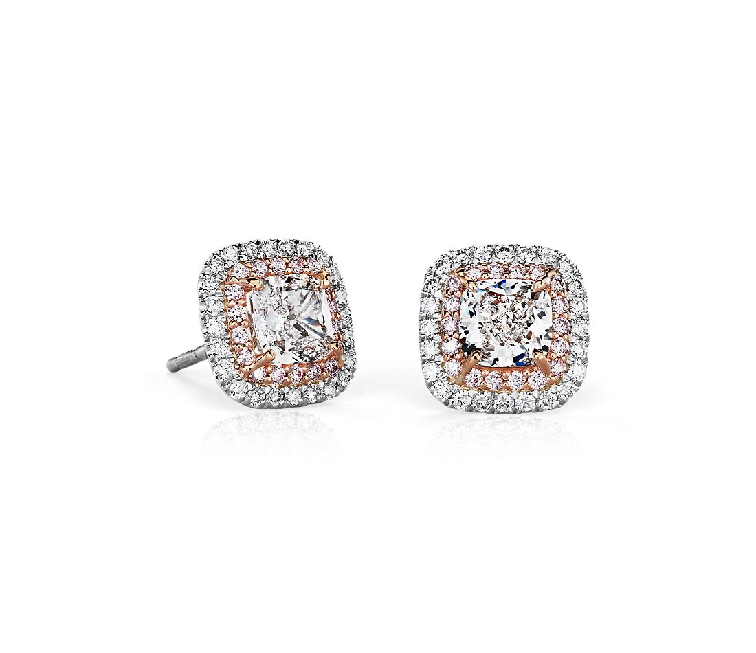 f2eeaae78109 Cushion-Cut Diamond Pink and White Halos Stud Earrings in Platinum and 18k Rose  Gold (2.32 ct. tw.)