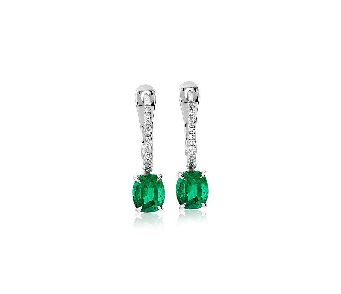 Cushion Cut Emerald Earrings With Diamond Drop In 14k White Gold 6x5mm