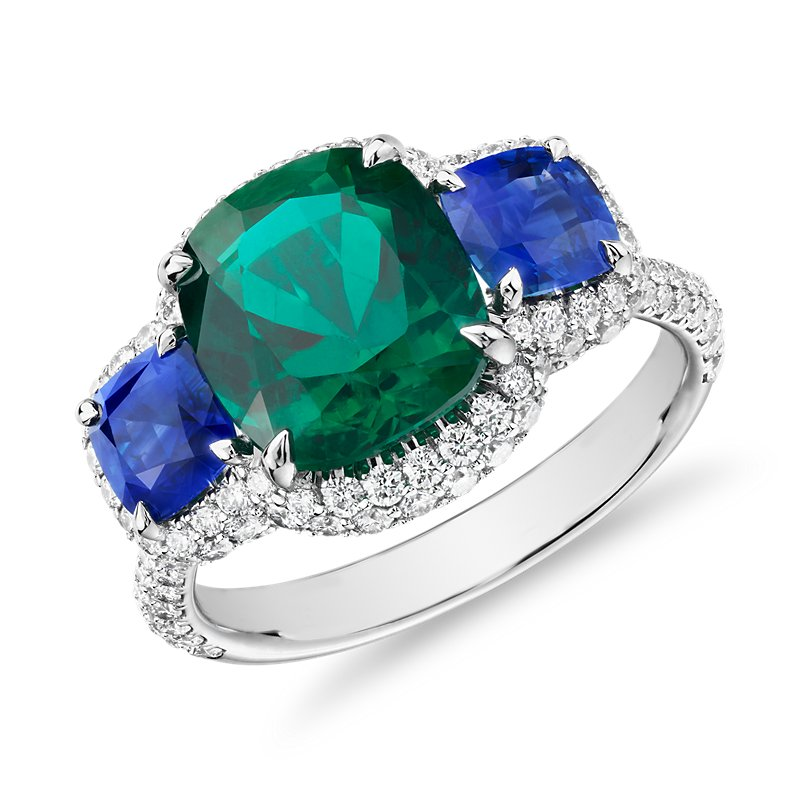 Cushion-Cut Emerald Ring with Sapphire Sidestones and Diamond Hal