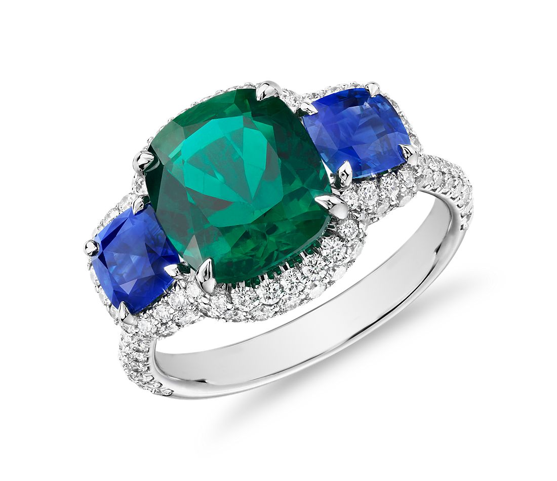 Cushion Cut Emerald Ring With Sapphire Sidestones And Diamond Halo In 18k White Gold 3 47 Ct Center