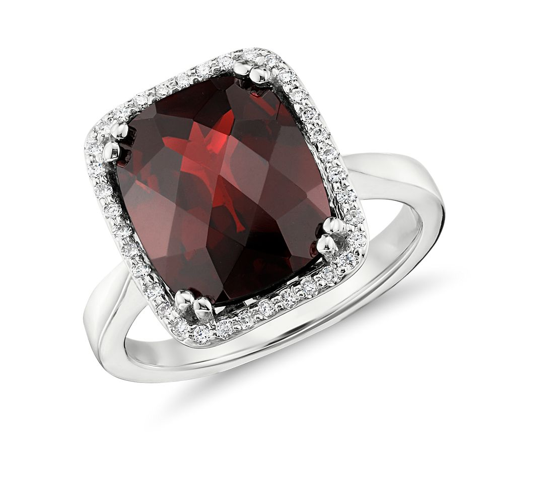 garnet and diamond halo cushion cut ring in 14k white gold 12x10mm - Garnet Wedding Ring