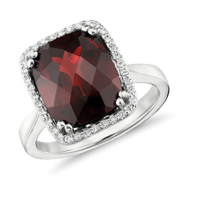 Garnet and Diamond Halo Cushion Cut Ring in 14k White Gold