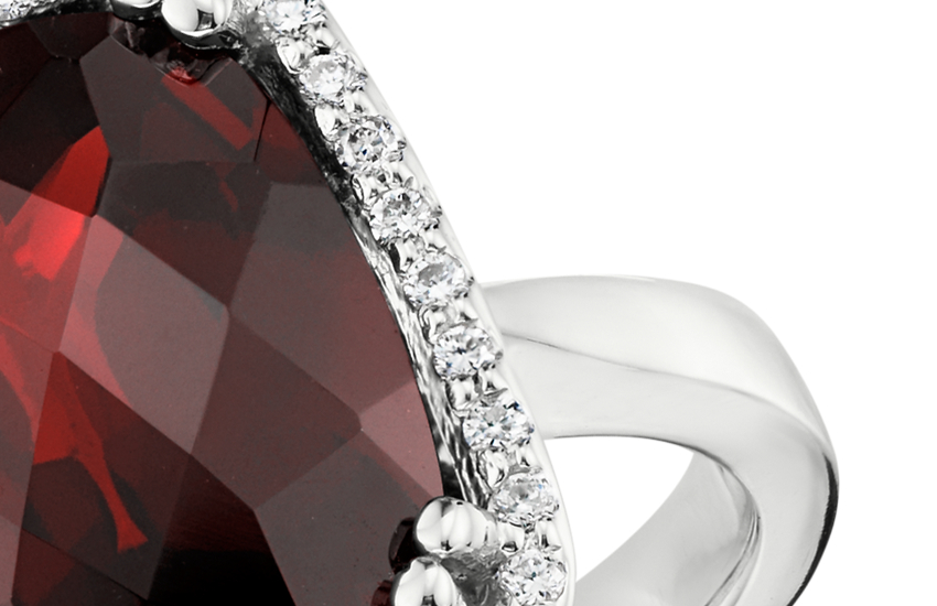 Garnet and Diamond Halo Cushion-Cut Ring in 14k White Gold (12x10mm)