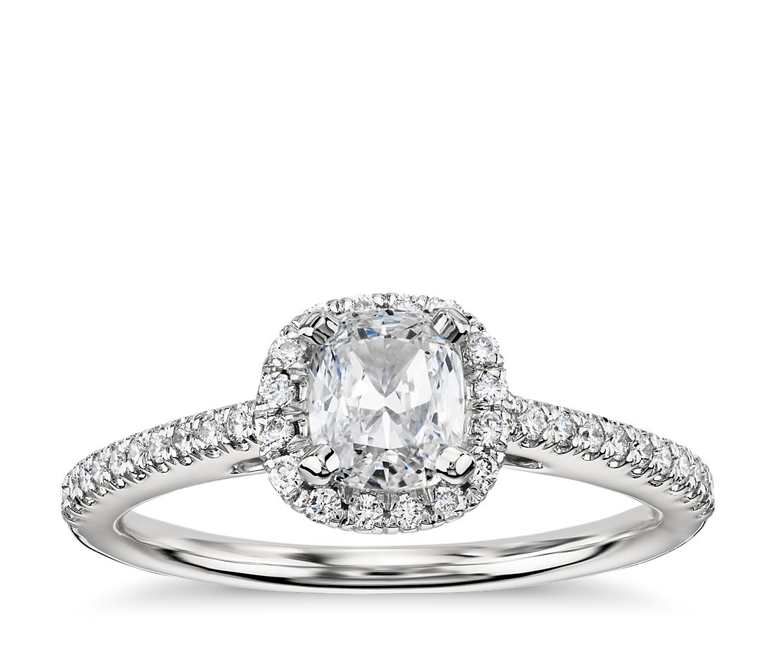 0 94ct Cushion Cut Halo Diamond Engagement Ring In 14k White Gold G Vs2