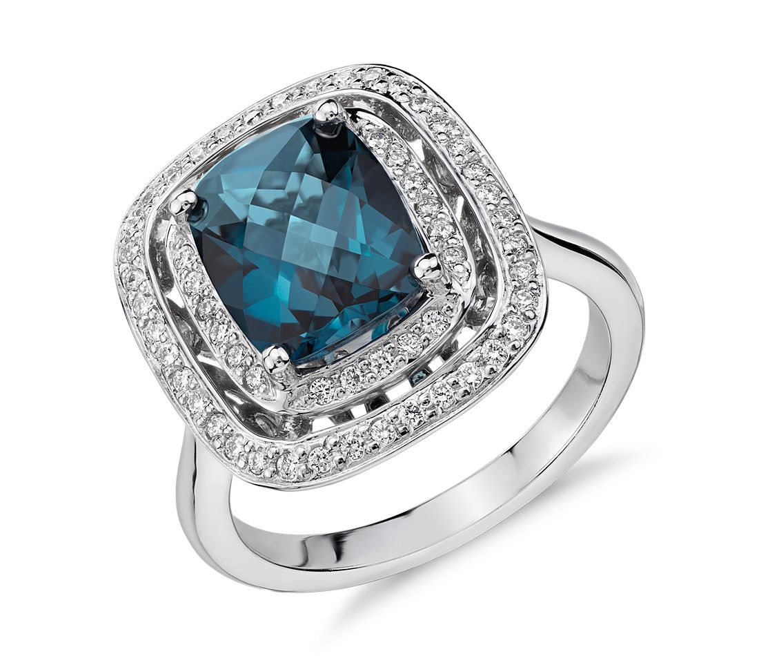 London Blue Topaz And Diamond Double Row Halo Cushion Cut Ring In 14k White Gold 10x8mm