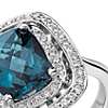 London Blue Topaz and Diamond Double Row Halo Cushion-Cut Ring in 14k White Gold (10x8mm)