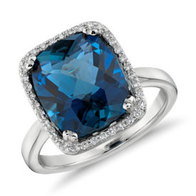 NEW London Blue Topaz and Diamond Halo Cushion-Cut Ring in 14k White Gold (12x10mm)