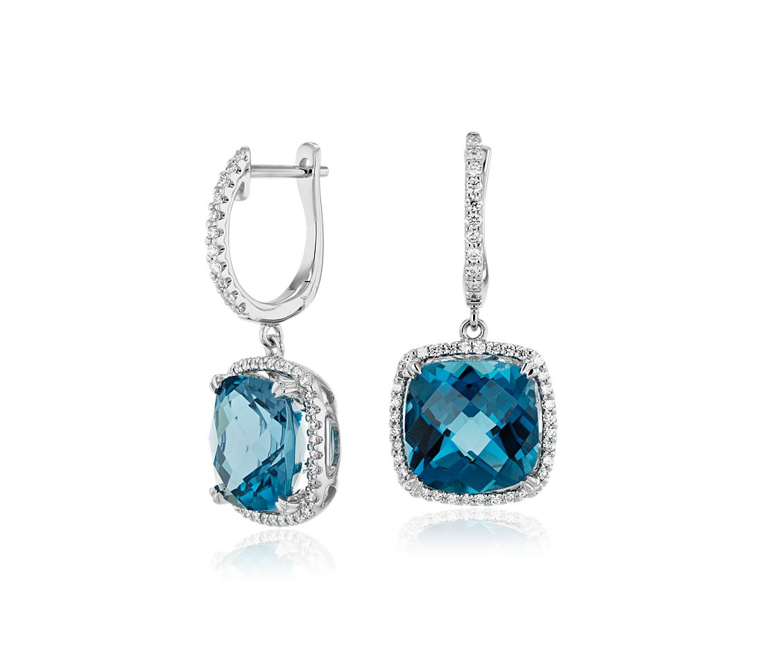Cushion-Cut London Blue Topaz and Diamond Halo Drop Earrings in 14k White Gold (9mm)
