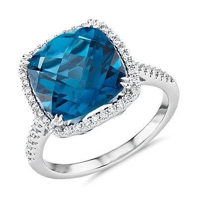 Cushion-Cut London Blue Topaz Diamond Halo Cocktail Ring in 14k White Gold (10.5mm)