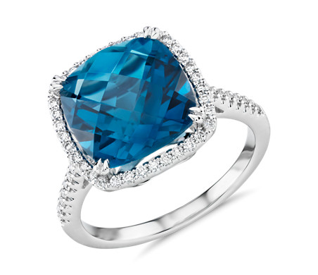 Blue Nile Cushion-Cut Swiss Blue Topaz Diamond Halo Cocktail Ring in 14k White Gold (10.5mm) jU48a