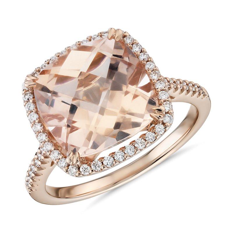 Cushion Cut Morganite Diamond Halo Cocktail Ring in 14k Rose Gold