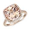 Cushion Cut Morganite Halo de diamantes Cocktail Ring in oro rosado de 14 k (10,5 mm)
