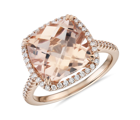 Bague de cocktail morganite taille coussin et halo de diamants en or rose 14 carats (10,5 mm)