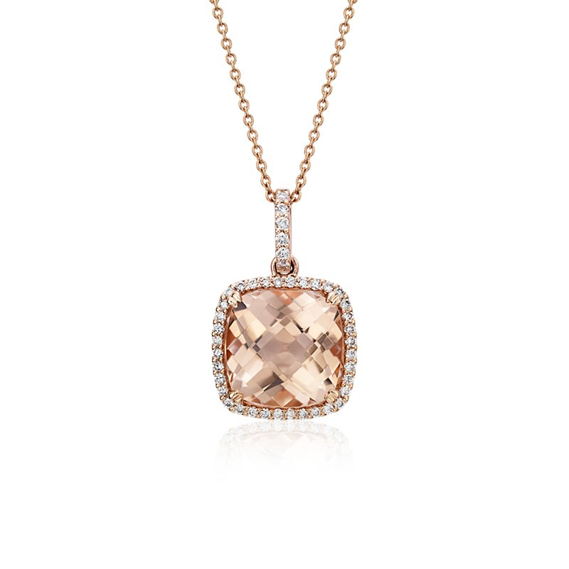 Cushion Cut Morganite Pendant with Diamond Halo in 14k Rose Gold