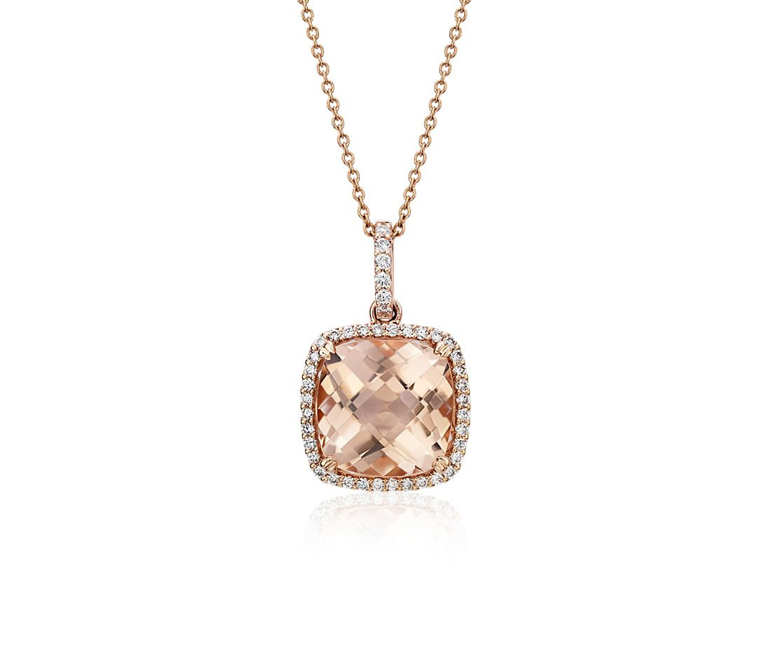 Cushion Cut Morganite Pendant with Diamond Halo in 14k Rose Gold (10.5mm)