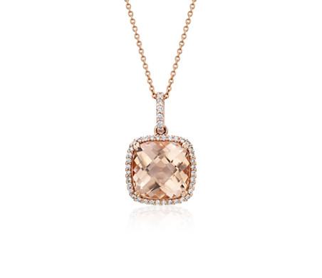 14k 玫瑰金枕形切割摩根石钻石光环吊坠<br>(10.5毫米)