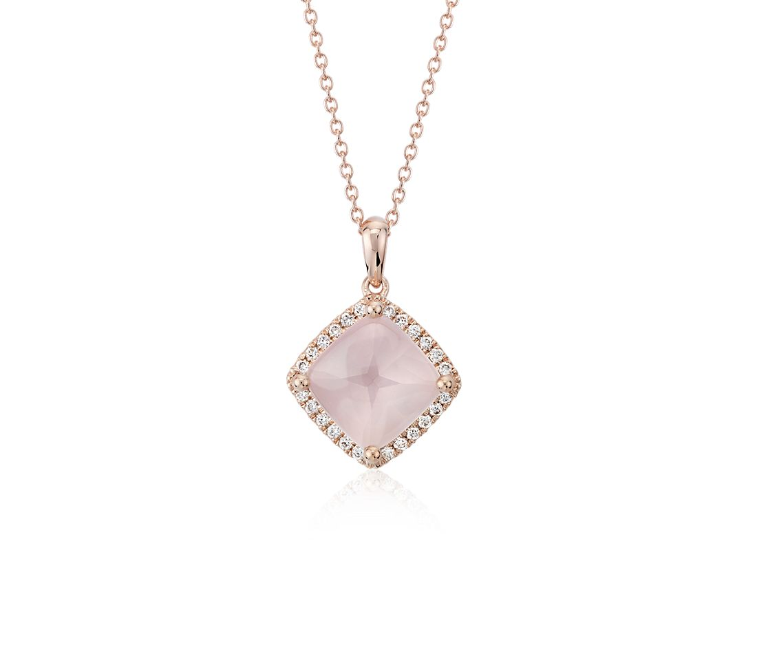 Cushion-Cut Pink Quartz Diamond Halo Pendant in 14k Rose Gold (9mm)