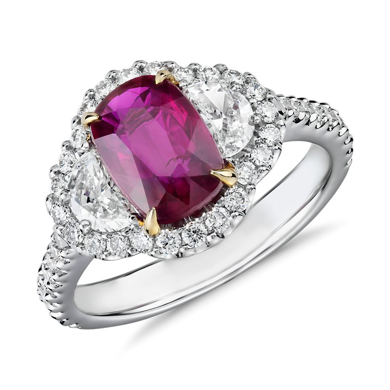 Three-Stone Cushion-Cut Ruby and Half Moon Diamond Halo Ring in 1