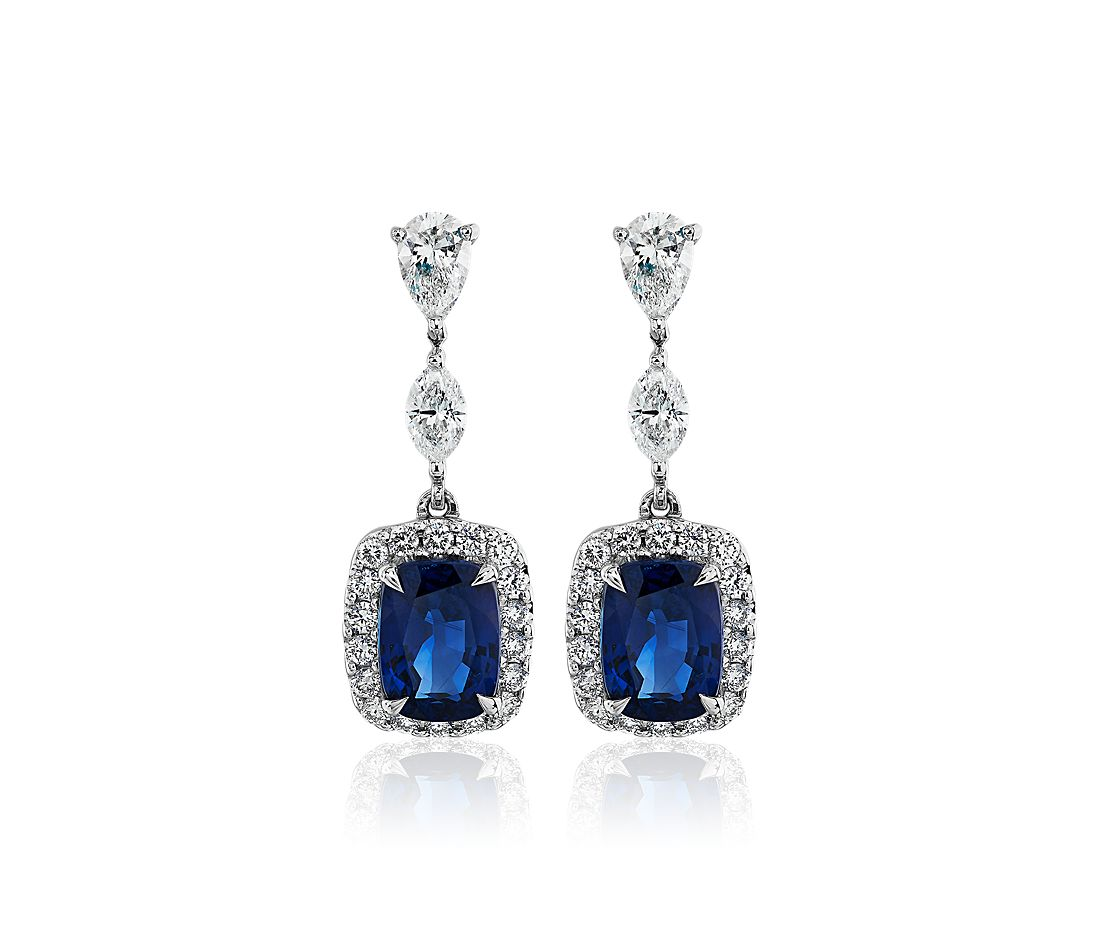 Cushion Cut Sapphire and Diamond Drop Earrings in 18k White Gold