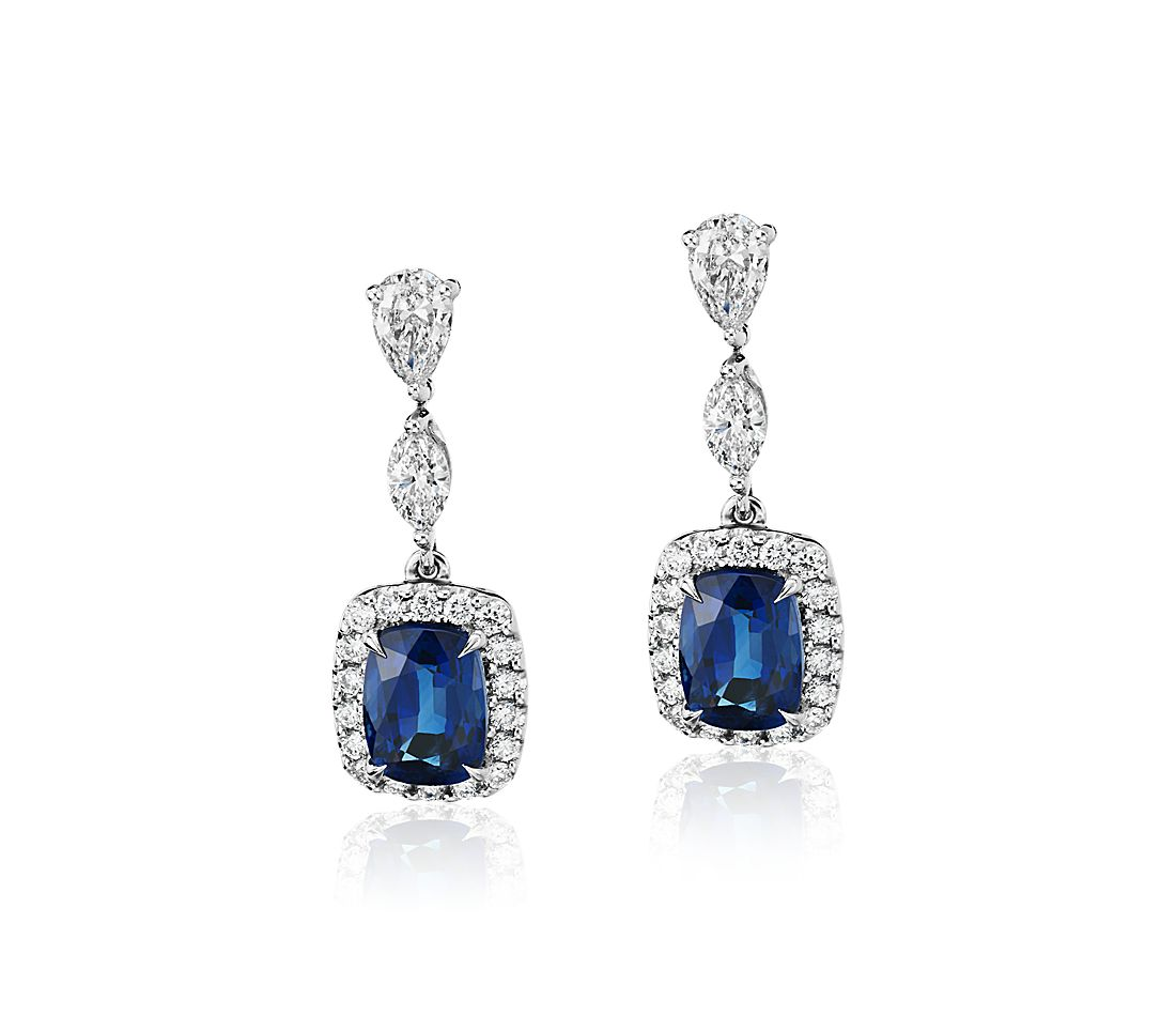 Cushion-Cut Sapphire and Diamond Drop Earrings in 18k White Gold (7.5x5.5mm)