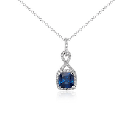 Cushion-Cut Sapphire and Diamond Halo Twist Pendant in 18k White Gold (7mm)