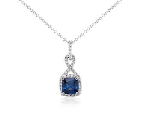 18k 白金枕形切割蓝宝石与钻石扭纹吊坠<br>(7毫米)