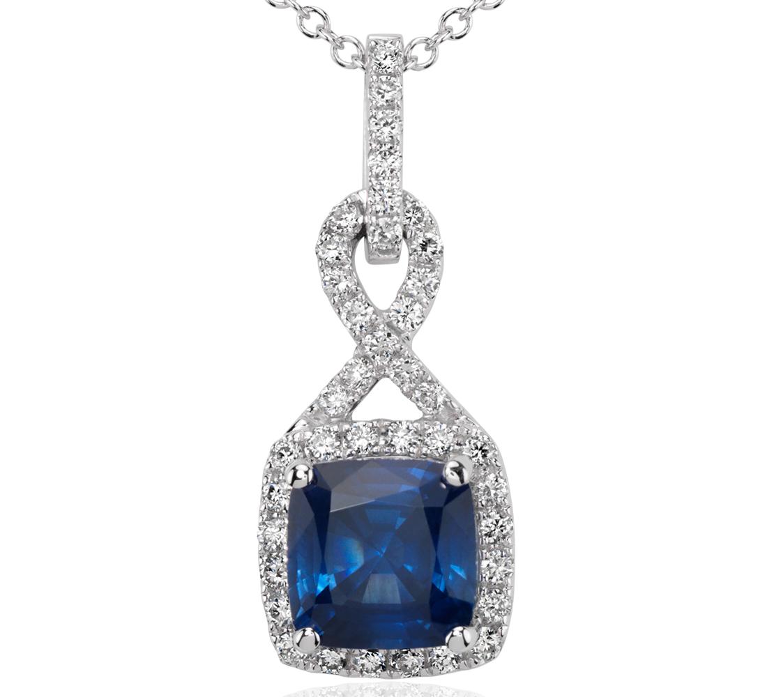 Pendentif torsadé halo diamant et saphir taille coussin en or blanc 18carats (7mm)