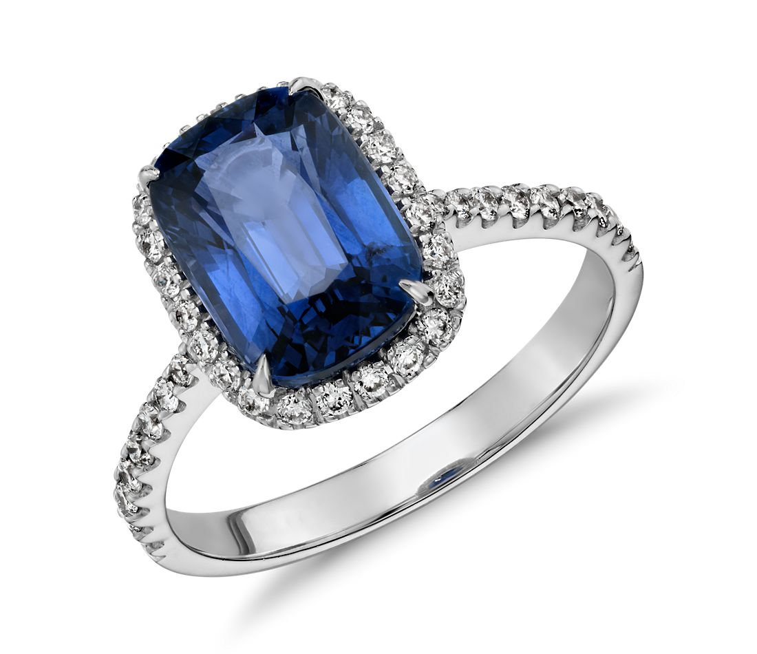 Cushion-Cut Sapphire And Diamond Halo Ring In 18k White