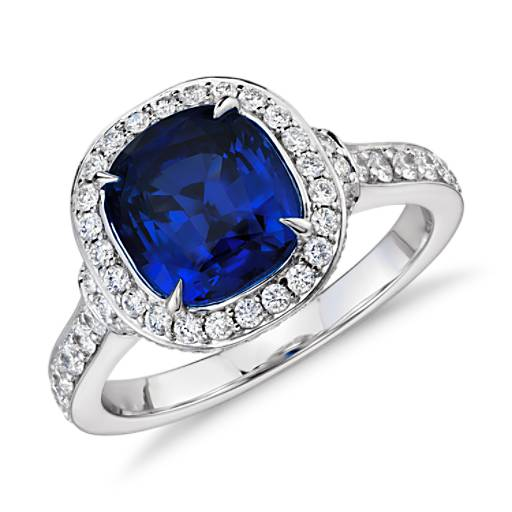 cushioncut sapphire and diamond halo ring in 18k white