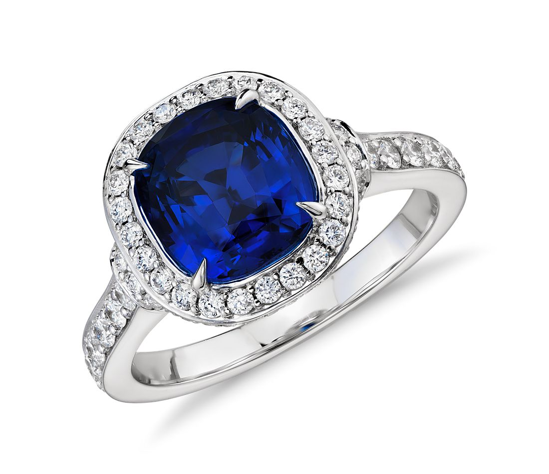 Cushion-Cut Sapphire and Diamond Halo Ring in 18k White Gold (2.58 ct center)