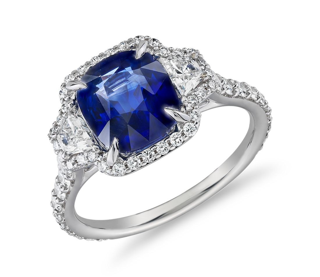 Cushion-Cut Sapphire Ring with Diamond Trapezoid Sidestones in 18k White Gold (8.6x7.6mm)