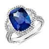 Cushion-Cut Sapphire and Diamond Crown Halo Ring in 18k White Gold