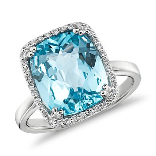 Sky Blue Topaz And Diamond Halo Cushion Cut Ring In 14k
