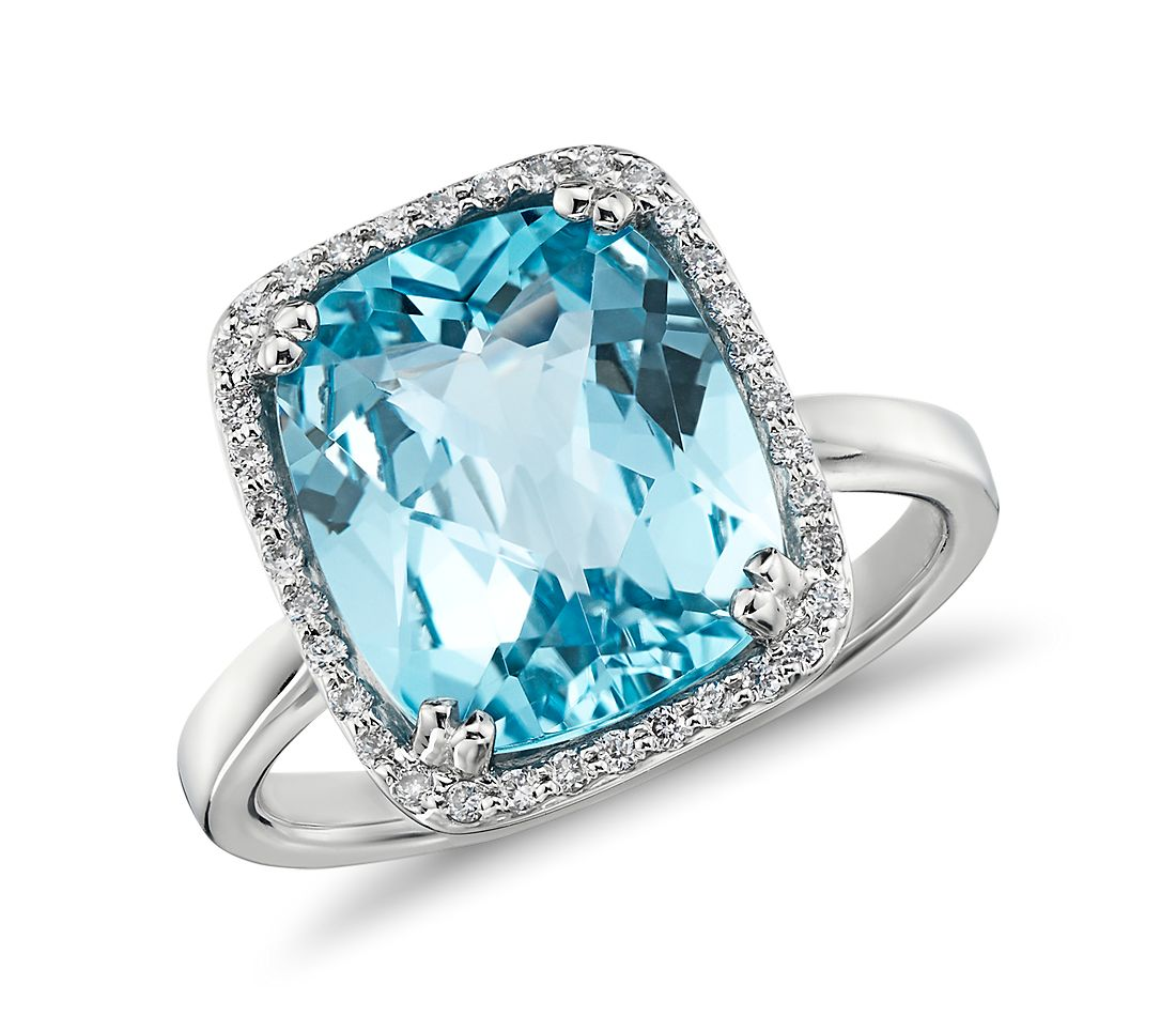 Cushion Cut Blue Topaz And Diamond Ring