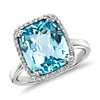 14k 白金 天藍色托帕石與鑽石光環墊形切割戒指<br>( 12x10毫米)