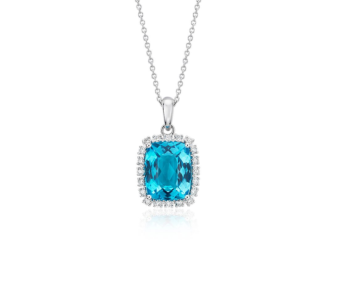 Cushion-Cut Swiss Blue Topaz and Diamond Halo Pendant in