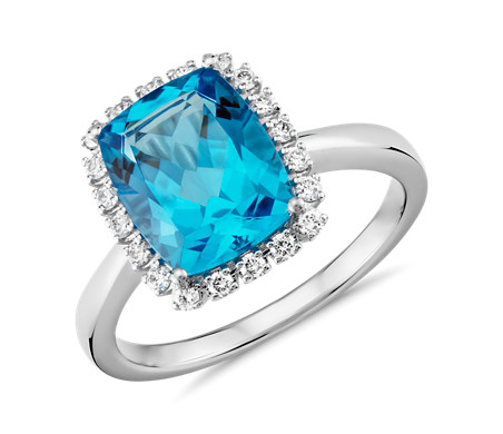 Cushion-Cut Swiss Blue Topaz and Diamond Halo Ring in 14k White Gold (10x8mm)