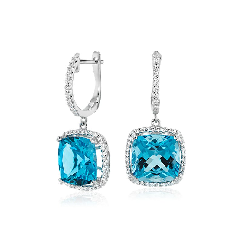 Cushion Cut Swiss Blue Topaz and Diamond Halo Drop Earrings in 14