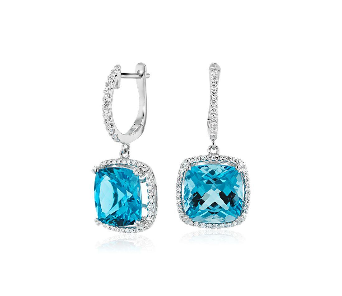 Cushion Cut Swiss Blue Topaz And Diamond Halo Drop Earrings In 14k White Gold 9mm