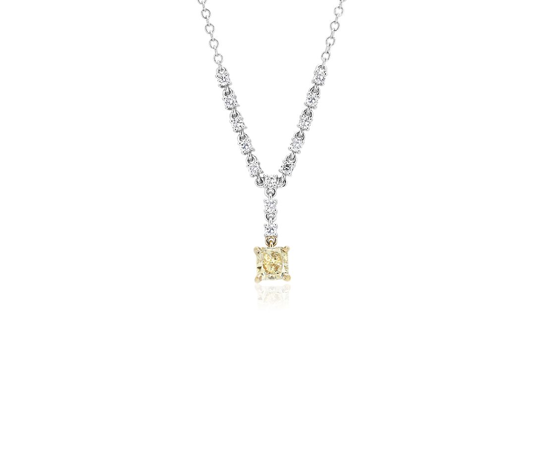 Cushion-Cut Yellow Diamond and Station Necklace in 18k White and Yellow Gold (1 ct. tw.)