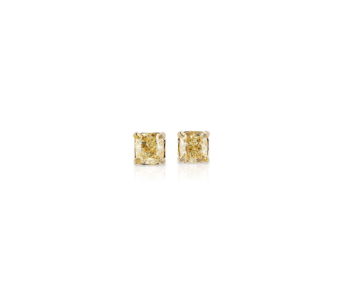 Cushion Cut Yellow Diamond Stud Earrings In 14k Gold 9 10 Ct Tw