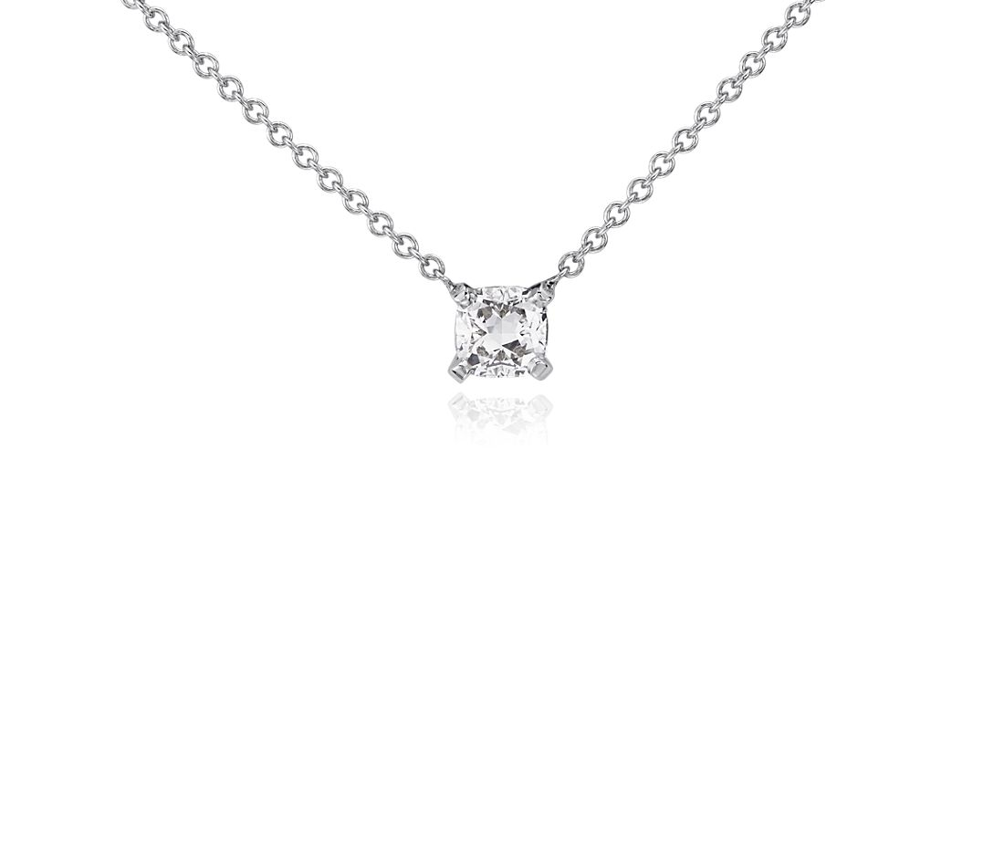 Cushion Diamond Solitaire Pendant In 14k White Gold 1 2