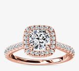 Cushion Diamond Bridge Halo Diamond Engagement Ring