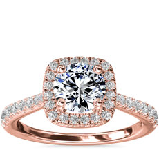 Cushion-Shaped Diamond Bridge Halo Diamond Engagement Ring in 14k Rose Gold (1/3 ct. tw.)