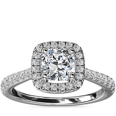 Cushion Diamond Bridge Halo Diamond Engagement Ring in 14k White Gold (1/3 ct. tw.)
