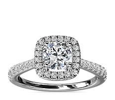 NEW Cushion Diamond Bridge Halo Diamond Engagement Ring in 14k White Gold (1/3 ct. tw.)