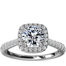 Cushion-Shaped Diamond Bridge Halo Diamond Engagement Ring in 14k White Gold (1/3 ct. tw.)