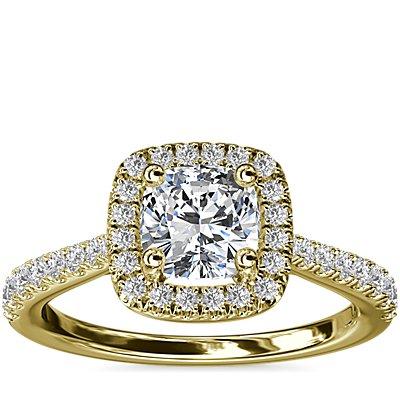 NEW Cushion Diamond Bridge Halo Diamond Engagement Ring in 14k Yellow Gold (1/3 ct. tw.)